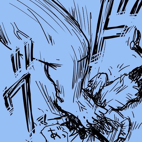 進撃の巨人、巨人がゾンビの頭部を破壊して決着するイラスト